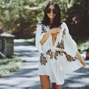 White Floral Embroidered Plunge Boho Gypsy Dress